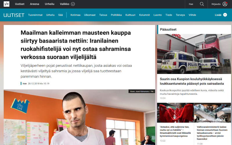(Published Article about Keshmoon in Finland national channel (Yle